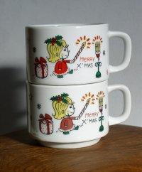 MAXWELL MeRRY X'MAS コーヒーカップ:女の子、クリスマスツリー、ネコetc 各1個