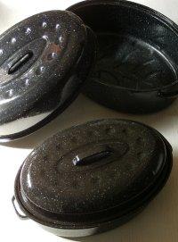 ホーロー Oval Roasting Pan オーバルローストパン ブラック&ホワイトスパークル (1)size M (2)size L  各1個