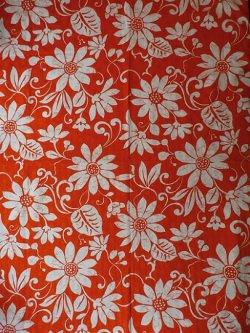 画像1: コロナール戸部 生地(ワンピース丈分) 花柄 オレンジ×白 size:118×250cm