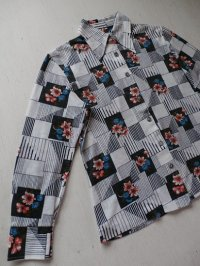 花×ライン柄 レディース長袖シャツ USED