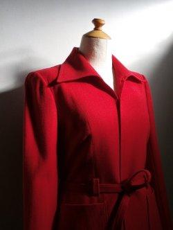 画像1: 東京スタイル レディース スーツ(ツーピース) レッド 細身Sサイズ ジャケット:肩幅38×丈61(cm)  スカート:W65×丈67(cm)