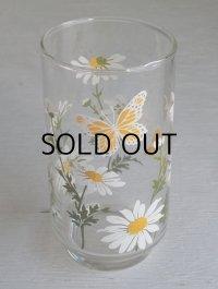 Libbey Glass リビーグラス マーガレット&バタフライ(蝶)柄 size: Ø6.6× H12.7