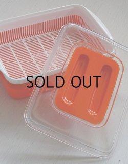 画像1: DAIEI プラスチック卓上製水切りパット color: オレンジ/ホワイト size:L28.8×W19.8×D9.8