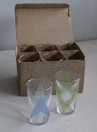 SASAKI GLASS 幾何学模様 ラバーコーティング ゴールドリム 箱入り6pcグラスセット color: 青/緑