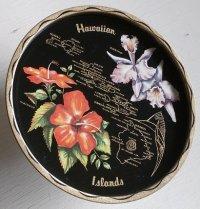 """Tin Souvenir Tray""""Hawaiian Islands"""" ハワイアン ティンサービングトレイ/お盆 size: Φ27.7cm"""
