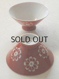 Maruka CHINA ごはん茶碗 花柄 朱色  size: Ø12×H5.8×Ø4.5(cm)  各1個