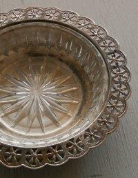 HANDFINISHED SILVERPLATED Candy Dish Bowl  キャンディ・ディシュ・ボウル(シルバーメッキ&ガラス) size: Ø16.5×H3.3(cm)