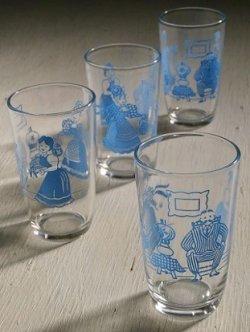 """画像1: Swanky Swigs """"Bustling Betty""""(1953)  Kraft Cheese Spread Jars/ Juice Glasses スワンキーグラス """"べティー"""" color: ブルー 各1個"""