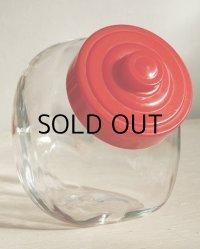 丸猫瓶/菓子瓶/ガラスキャンディポット/ガラスクッキージャー/ガラスキャニスター 蓋:プラスチック/赤 size: L20×H16.5×W11.5(cm)