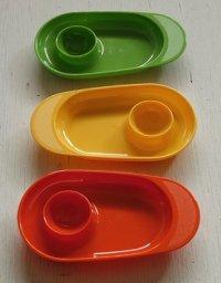 Takashimaya エッグスタンドプレート color: イエロー、グリーン、オレンジ 各1枚