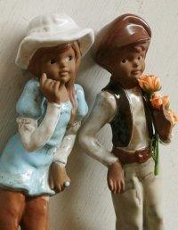 陶器 置物 レトロファッション ボーイ&ガール ペアーセット size: H25.3〜27cm