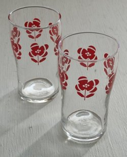画像1: SASAKI GLASS プリントグラス 赤い花 size: Ø5.5×H9.8×Ø4.8(cm) 各1個