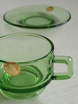 画像1: HIGH GIFT カラードグラス カップ&ソーサ color: グリーン size: カップ Ø8×H6(cm)/ ソーサØ15cm