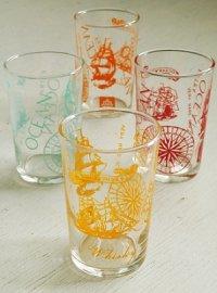 OCEAN WHISKY ノベルティープリントグラス(帆船、羅針盤、ロゴ) 4pcセット(イエロー、オレンジ、レッド、ウォーターブルー)