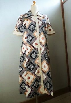 画像1: Hanamura ハナムラ ワンピース/ サマードレス 柄: モザイク系 サイズ:13号