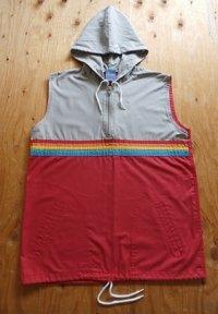 Sears Boys ノースリーブパーカー レインボー、グレー、レッド size: L(14-16 ) 胸囲約88cm 丈約60cm