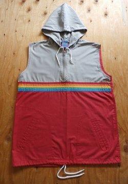 画像1: Sears Boys ノースリーブパーカー レインボー、グレー、レッド size: L(14-16 ) 胸囲約88cm 丈約60cm