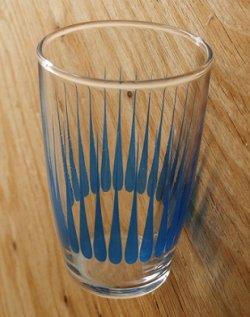 画像1: HOYA 保谷硝子 プリントグラス ブルーパターン size: topØ6×H9.5×underØ4.2 (cm)