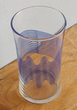 画像1: ADERIA アデリアグラス 平行ウェーヴライン模様 size: Ø6×H11.3(cm)