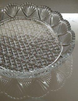 画像1: HOYA 保谷クリスタル プレート 楕円・縁付・カット size: L30.5×W24.5×H4(cm)