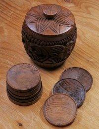 wooden dorinkicoasters with holder  ドリンクコースター9pc & 蓋付ウッドホルダーセット