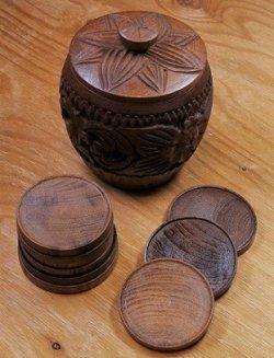 画像1: wooden dorinkicoasters with holder  ドリンクコースター9pc & 蓋付ウッドホルダーセット