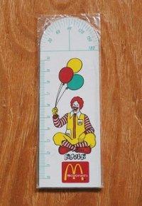 McDonald's  日本マクドナルドノベルティグラス  ドナルド 分度器付10cm定規