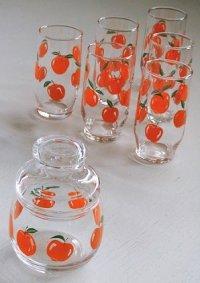 りんご柄 キャンディポット&グラス6コセット