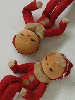 画像1: お土産/飾り人形 クリスマス/サンタルック 2pcセット