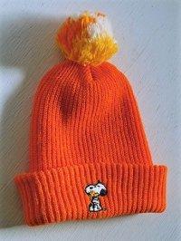 SNOOPY PEANUTS  HI-BULK ORLON SKI HAT WITH POM POM   スヌーピー&ウッドストック キッズポンポン付ニット帽  color オレンジ