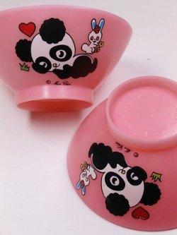 画像1:  パンダのお茶碗  ピンク  素材:ポリプロピレン  © mon cheri 各1枚