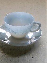 """Federal HEAT PROOF  """"Gray Iridescent """"  Pearl Luster  Cup&Saucer  フェデラル社 カップ&ソーサー/コーヒーカップ  耐熱ガラス/ミルクガラス  color: グレー、玉虫色   size: カップØ9.4cm / ソーサーØ14.6cm"""