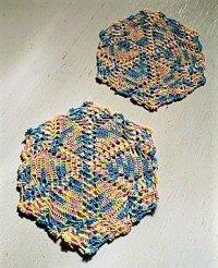 ドイリー (U.S.A.)  2pcセット パステル(ピンク、ブルー、グリーン、イエロー) 六角形 size: 21.5cm