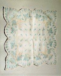 レースハンカチ  ロース柄/リボン柄  color: ブルー/アイボリー  size: 約34×34(cm)