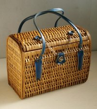 竹編み バスケット/ハンドバック  ハンドル:合皮  チェーン、金具付
