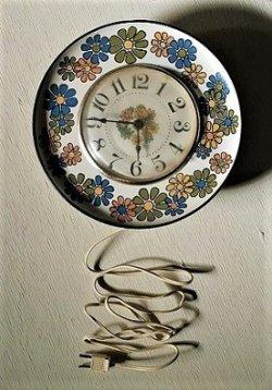 画像1: Spartus Metal Flower Wall Clock スパータス社 メタルプレート壁掛け電動時計:フラワープリント