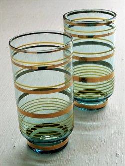 画像1: ボヘミアングラス タンブラー  コバルトブルー/ストライプ(ゴールド、イエロー)  size: Φ6.2×H12×Φ4.4(cm)  2pcセット