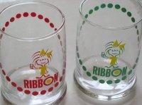 リボンちゃん  RIBBON  ラウンドグラス  各1個