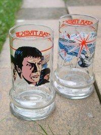 """映画 """"Star Trek III: The Search for Spock""""(スタートレックIII ミスター・スポックを探せ!) ミスター・スポック/エンタープライズ号 ノベルティーグラス TACO BELL 1984 各1個"""