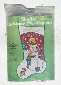 Bucilla  クリスマス ニードルポイント  靴下:スノーマン   ウイッシュマンオーナメント  各1セット