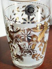 SASAKI GLASS WARE  ゴールド&ホワイト フラワーモチーフ プリントグラス 各1個