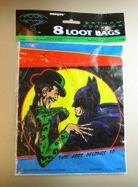"unique 1995 BATMAN FOREVER 8 LOOT BAGS / unique ""バットマンフォーエヴァー""8枚入りプラスチックバッグ"
