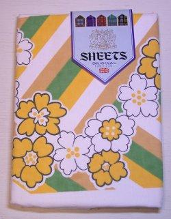 画像1: イギリス製  花柄フラットシーツ  size130×230