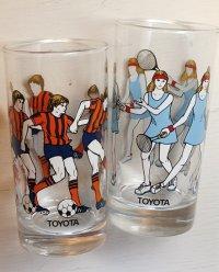TOYOTA  プリントグラス  スポーツ サッカー/テニス  各1個