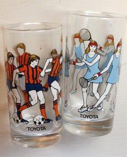 画像1: TOYOTA  プリントグラス  スポーツ サッカー/テニス  各1個