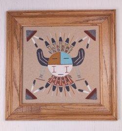 """画像1:  Navajo Sandpainting ネイティブアメリカン ナホバ族 サンドペインティング """"MOON"""" size: 27.5×27.5 (cm)"""
