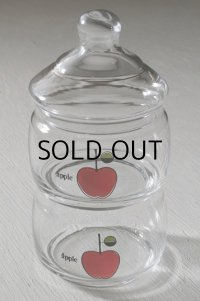 """石塚硝子 ADERIA GLASS (アデリアグラス) ガラス2段キャンディーポット """"apple""""リンゴイラストプリント"""