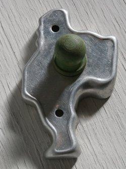 画像1: クッキーカッター/モールド/型抜き  サンタクロース  size: L9cm  型:アルミ  ハンドル:木(グリーンペイント)