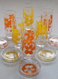 SASAKI GLASS フラワープリントロンググラス&コースター2pcセット オレンジ/イエロー
