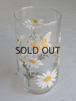 画像1: Libbey Glass リビーグラス マーガレット&バタフライ(蝶)柄 size: Ø6.6× H12.7